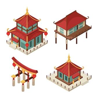 Edificios asiáticos isométricos. puerta china casas japonesas tradicionales pagoda techo sintoísmo imágenes de arquitectura 3d