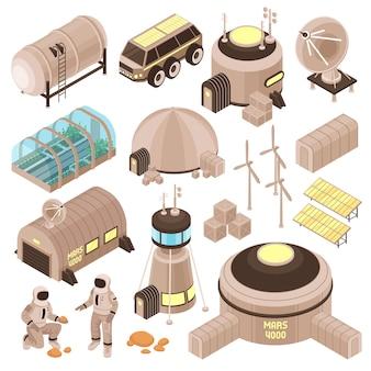 Edificios de base espacial y astronautas en marte isométrica set 3d