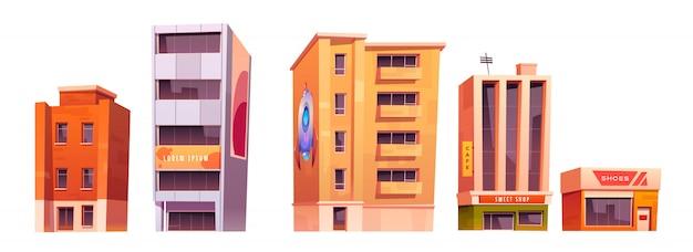 Edificios de la ciudad con apartamentos, oficinas y tiendas.