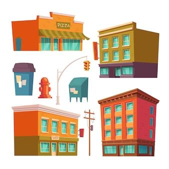 Edificios de la ciudad con apartamentos y tiendas.