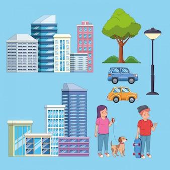 Edificios de la ciudad, autos y personas con mascotas