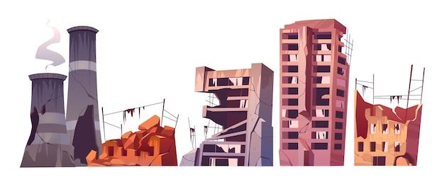 Edificios de la ciudad destruida, juego de destrucción de guerra