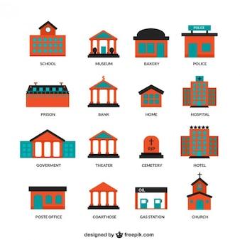 Edificios de la ciudad iconos