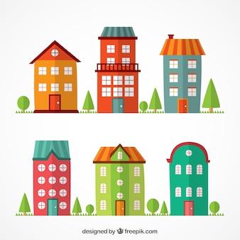 Edificios coloridos planos