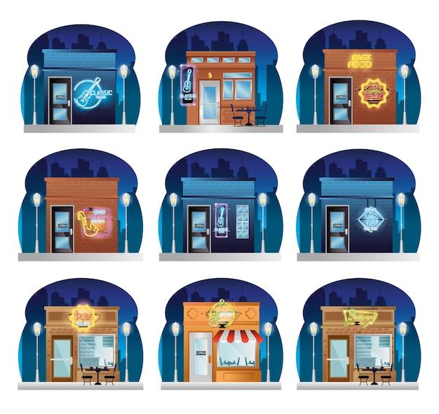 Edificios de comida rápida y bebidas frente con luces de neón Vector Premium