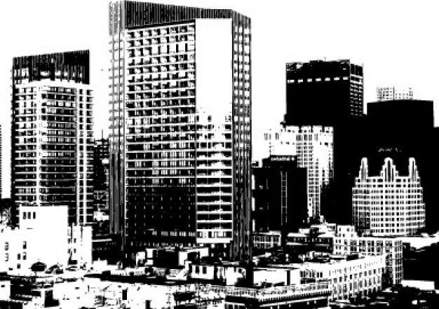 Edificios de la ciudad monocromo gráficos vectoriales
