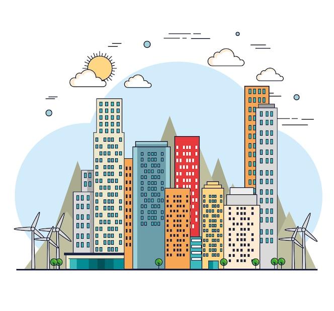 Edificios ecología verde escena de la ciudad