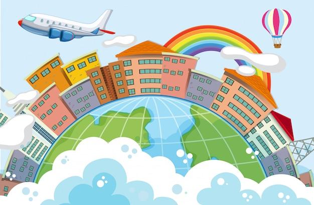 Edificios en escena del globo con avión