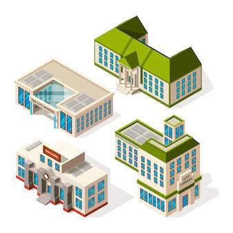 Edificios escolares. edificios isométricos de escuelas o institutos 3d