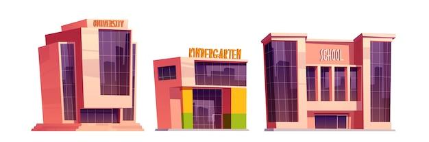 Edificios de escuela, guardería y universidad aislados.