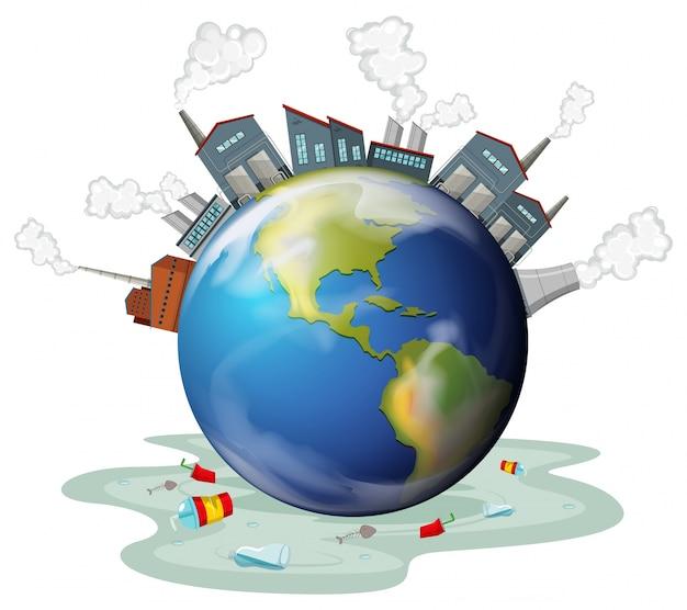 Edificios de fábricas y contaminación en la tierra
