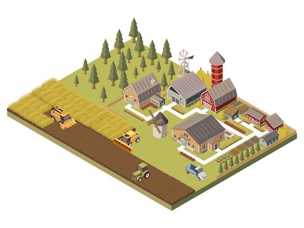 Edificios de granja y campos cultivados ilustración