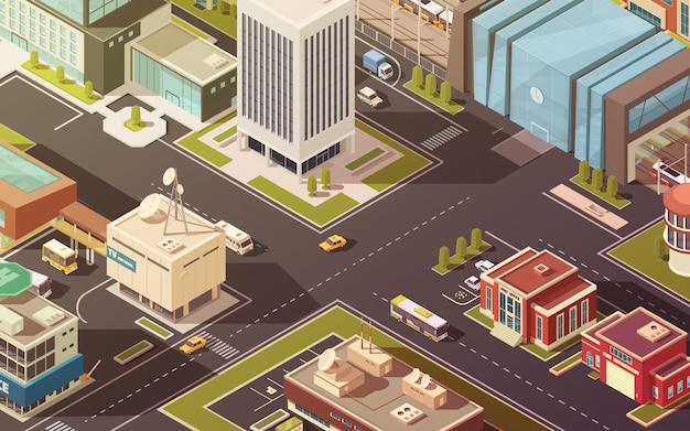 Edificios gubernamentales de la ciudad calles carreteras y tráfico ilustración vectorial isométrica
