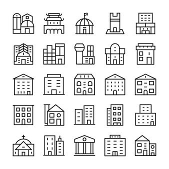 Edificios, iconos de línea de hitos