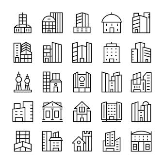 Edificios, iconos de líneas de puntos de referencia 0