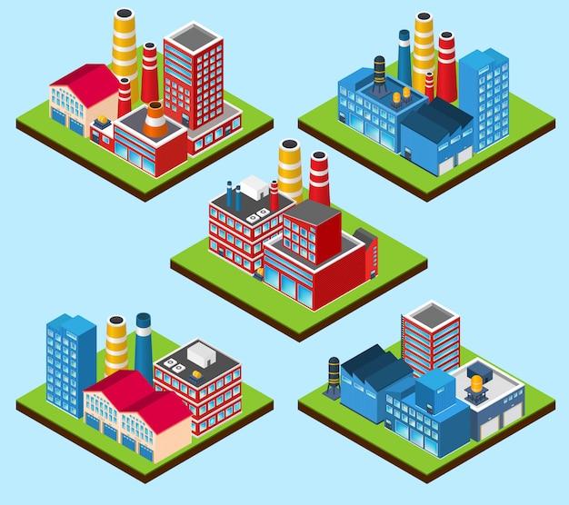 Edificios industriales isométricos