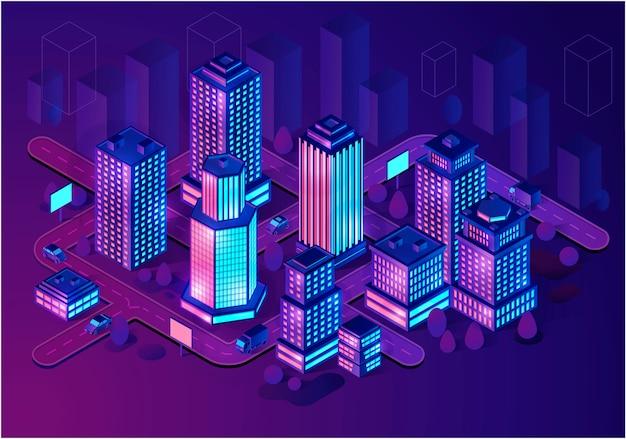 Edificios inteligentes isométricos