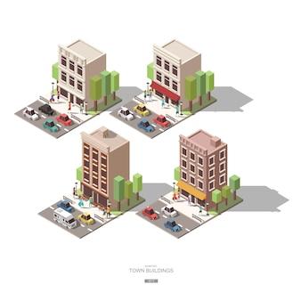Edificios isométricos de la ciudad