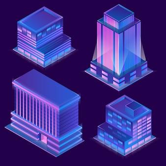 Edificios modernos isométricos 3d en estilo de dibujos animados con iluminación de neón.