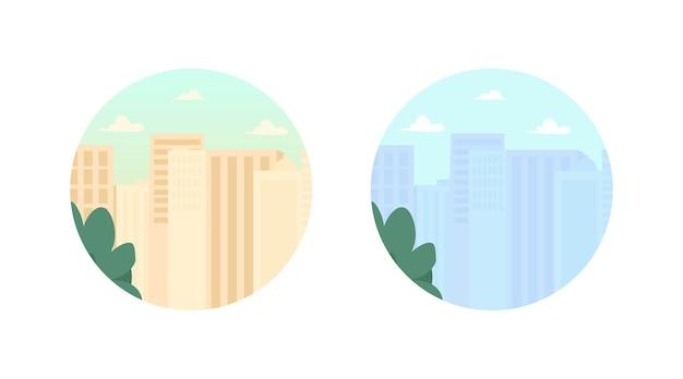 Edificios modernos rascacielos 2d vector web banner, poster. bienes raíces. condominio urbano. escena plana de condominio de la ciudad sobre fondo de dibujos animados. parche imprimible del complejo de oficinas, elemento web colorido