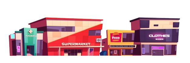 Edificios de tiendas, tienda de ropa, supermercado, patio de comida rápida y fachadas de farmacia. exteriores de la arquitectura de la ciudad moderna, vista frontal del mercado aislado sobre fondo blanco, ilustración de dibujos animados