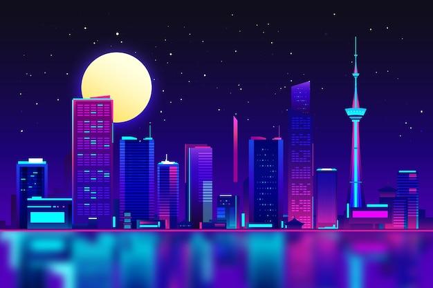 Edificios de tokio en luces de neón.