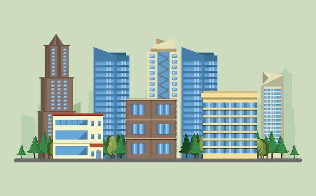 Edificios urbanos con paisaje urbano.