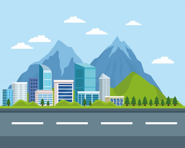 Edificios urbanos y paisajes naturales