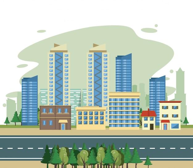 Edificios urbanos vista del paisaje urbano escenario