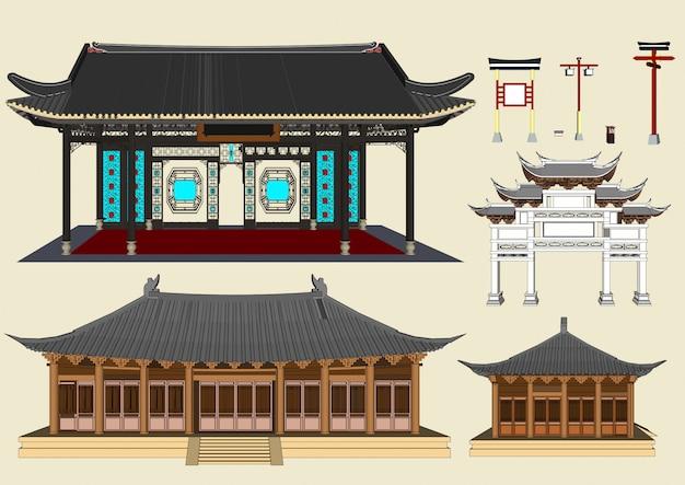 Edificios de vectores, casas de estilo chino y casas japonesas