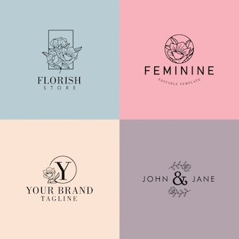 Editable floral femenino minimalista premade logo set