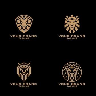 Editable lion king premade minimalist logo set
