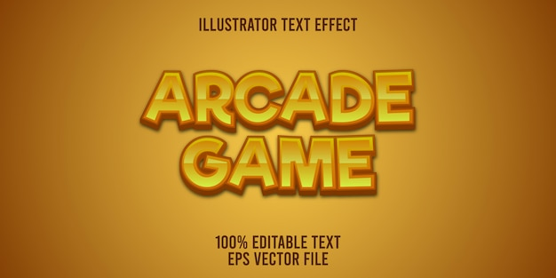 Editable text effect arcade game style