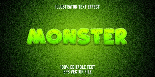 Editable text effect furry monster