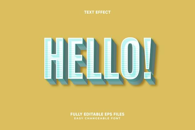 Editable vector de efecto de texto hola