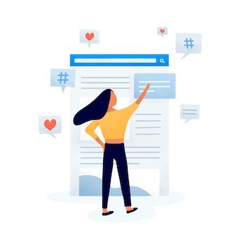 Editor de contenido editando el vector feed