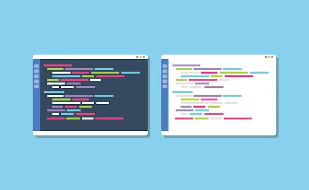 El editor de texto de programación de tema oscuro o blanco compara