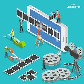 Editor de video móvil plano isométrico. la gente crea una película en un teléfono inteligente usando tiras de película y cinta adhesiva.