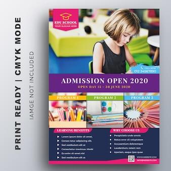 Educación, admisión, folleto de regreso a la escuela