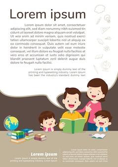 Educación y aprendizaje, familia y niños leyendo un libro. plantilla de texto.