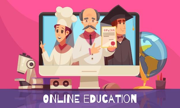Educación de aprendizaje en línea con certificado de diploma de título internacional reconocido composición de dibujos animados coloridos graduados libros de texto de escritorio