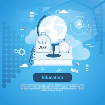 Educación aprendizaje en línea plantilla web banner con copia espacio