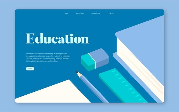 Educación y aprendizaje del sitio web informativo gráfico
