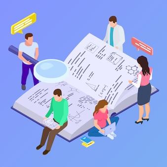 Educación colectiva, ilustración isométrica de investigación grupal