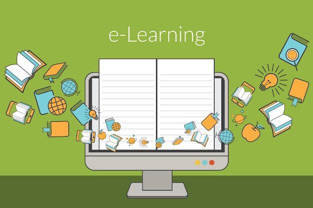 Educación, concepto de e-learning, monitor de computadora con iconos