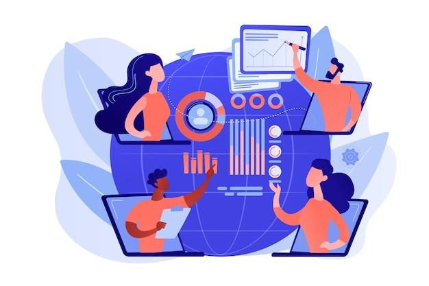 Educación digital, conferencia por internet. charlas de tecnología en línea, presentaciones de temas técnicos, seminarios web de tecnología, concepto de demostración de tecnología en vivo. ilustración aislada de bluevector coral rosado