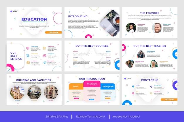 Educación diseño de diapositivas de presentación de powerpoint
