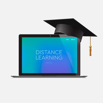 Educación a distancia, educación en línea, lugar de trabajo en casa, ilustración