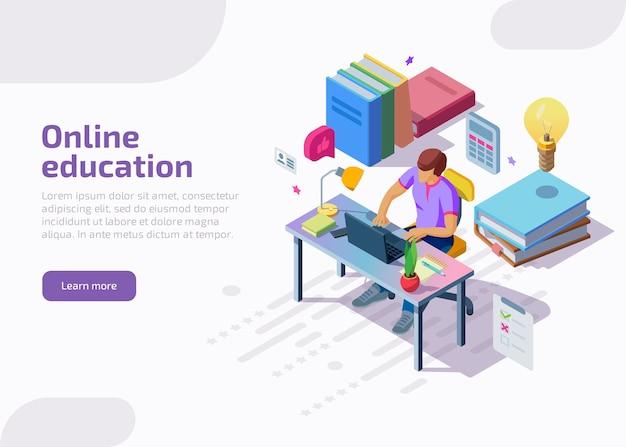 Educación a distancia en línea isométrica, formación, cursos.