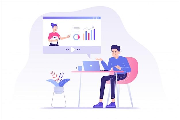Educación a distancia en línea o seminario web
